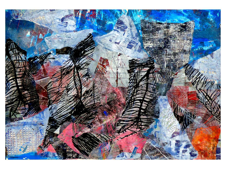 Cornelia Janecke  Collage Flugmodus 80x60 cm - collagierte Seidenpapierdrucke - 2019