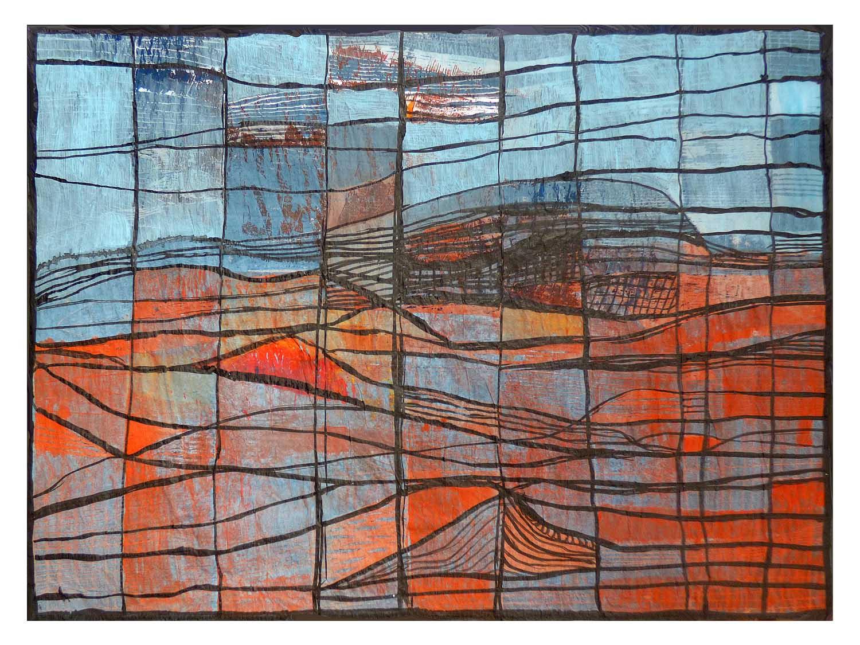 Cornelia Janecke  Koordinaten des Gebirges 60x40 cm - Druckgrafik Holzschnitt übermalt - 2018