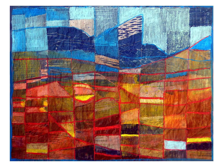 Cornelia Janecke  Marokko Gebirge 60x40 cm - Druckgrafik Holzschnitt übermalt - 2018