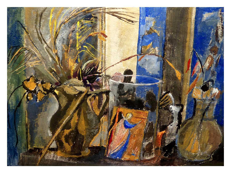 Cornelia Janecke  Atelierfenster mit Engel 75x57 cm - Pastell - 2009