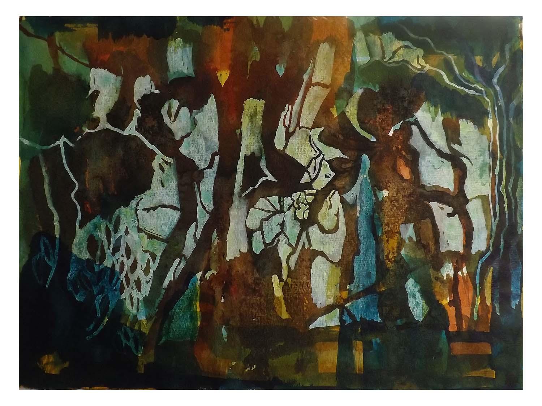 Cornelia Janecke  Bizarre Landschaft 38x28 cm - Malerei Tusche/Aquarell - 2018