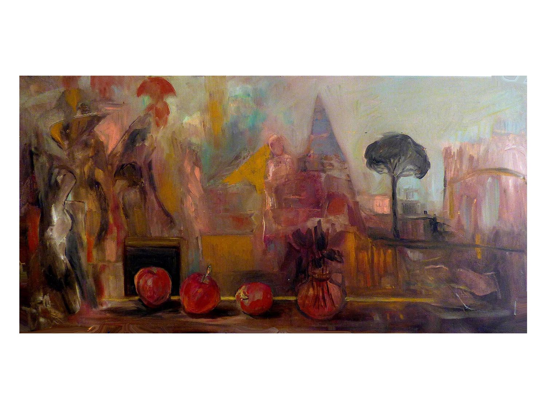 Cornelia Janecke  Fries vom Reisen 120x60 cm - Malerei Öl/Leinwand - 2016
