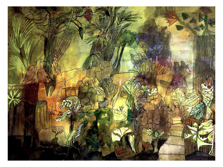 Cornelia Janecke  Guatemaltekischer Urwaldtempel 75,5x57,5 cm - Malerei Tusche/Aquarell - 2016