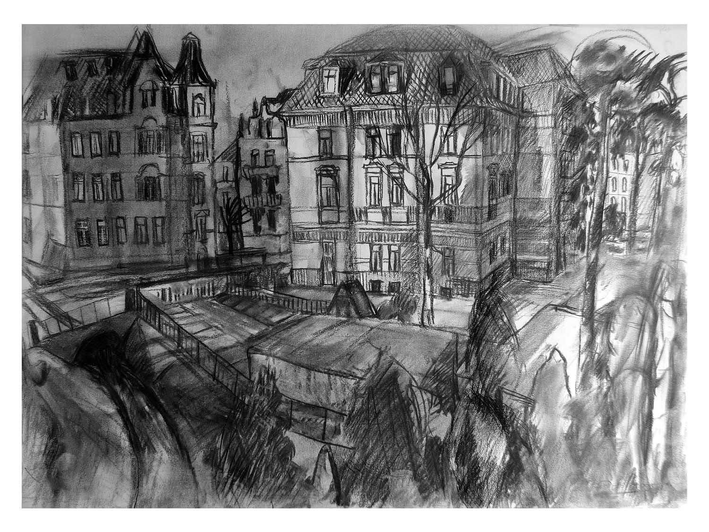 Cornelia Janecke  Blick auf die Voglerstrasse Dresden 70x50 cm - Zeichnungen  Kohlezeichnung - 2007