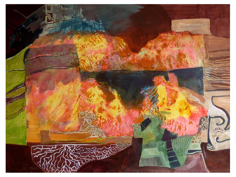 Cornelia Janecke Feuer im Innern 66,5x50 cm – Collage – 2019