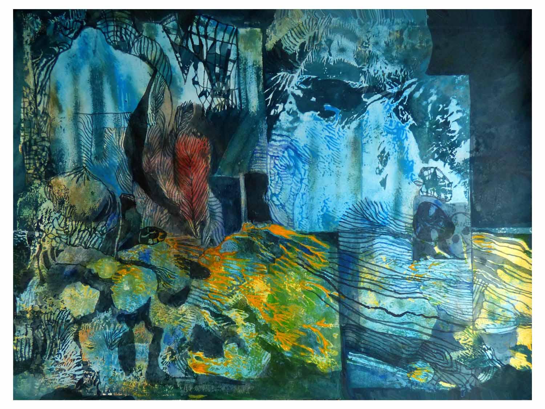 Cornelia Janecke Traumgesicht 65,5x50 cm - Collage - 2019