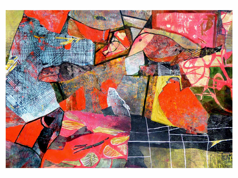 Cornelia Janecke Vögel 65,5x50 cm – Collage – 2019