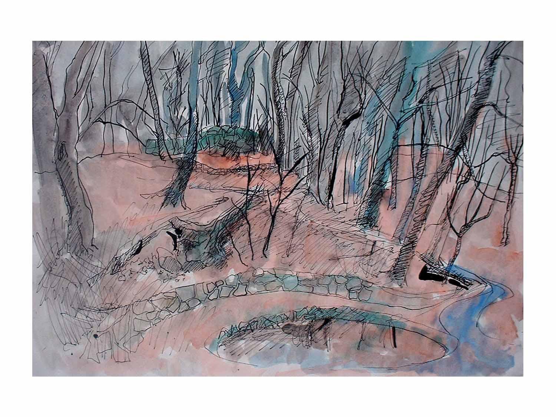 Cornelia Janecke Dresdener Heide im Frühling 40x30 cm - Zeichnungen Tuschezeichnung - 2016