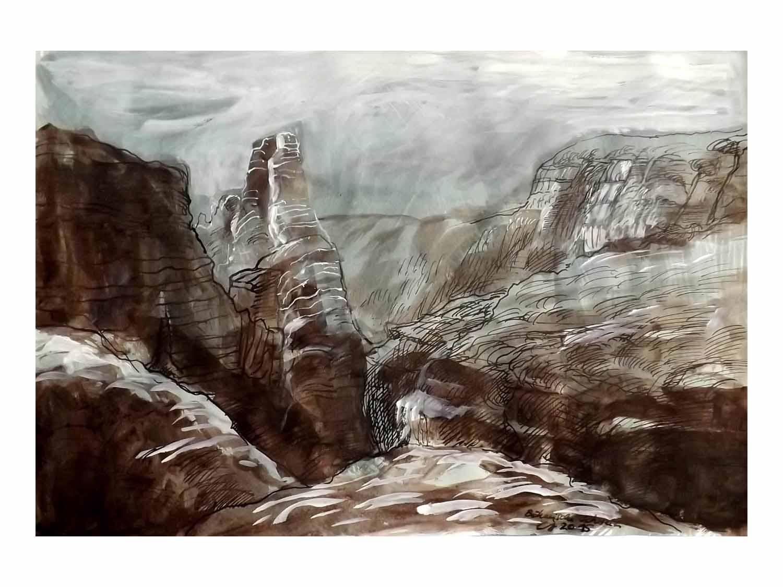 Cornelia Janecke Sächsische Schweiz im Winter 40x30 cm - Zeichnungen Tuschezeichnung - 2015