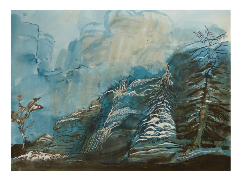 Cornelia Janecke Winterlandschaft 40x30 cm - Zeichnungen Tuschezeichnung - 2016